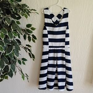 Navy and white striped nautical girls bow dress